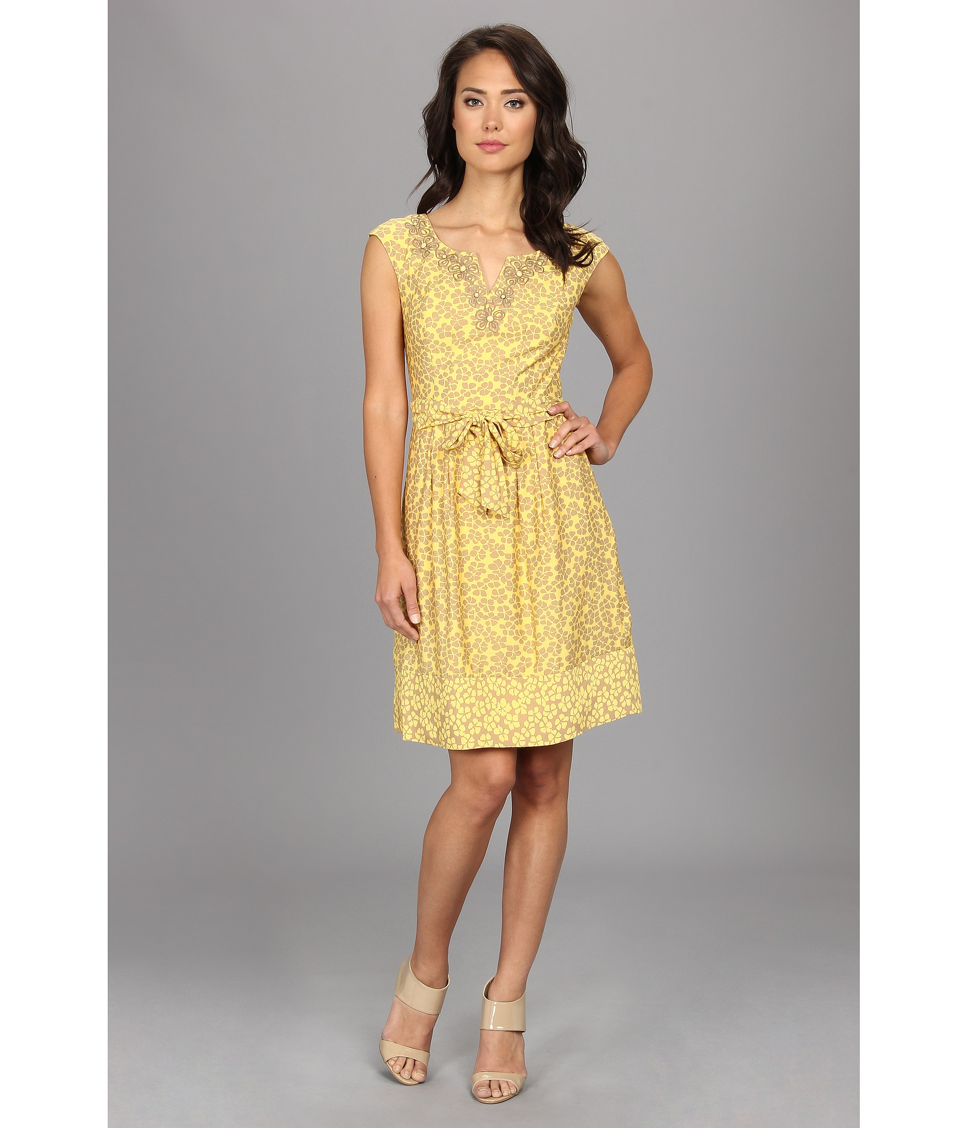 Adrianna papell ditsy floral embellished neck dress in