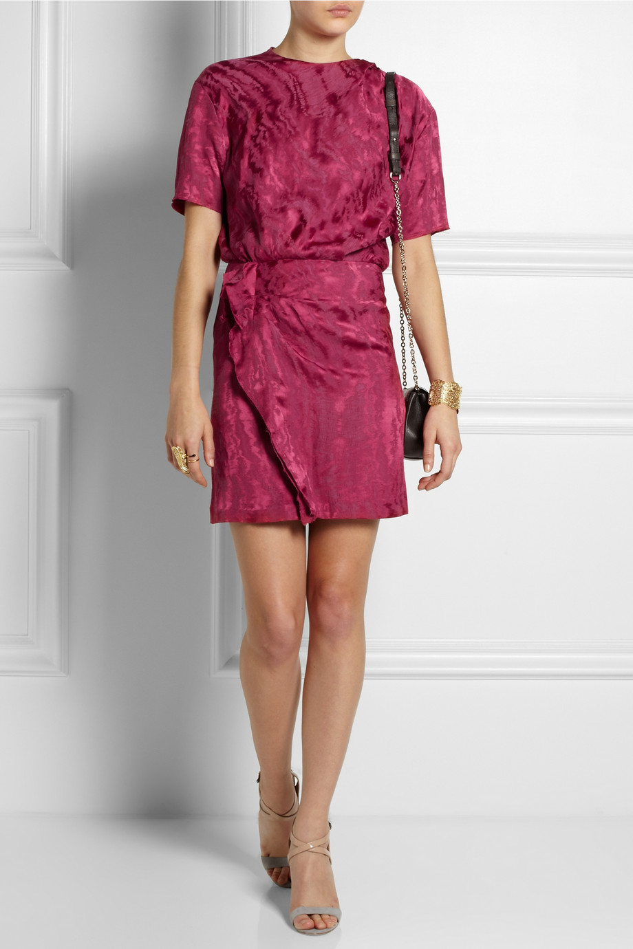 dc7ad9a8944 Isabel Marant Yann Moiré Mini Dress in Pink - Lyst