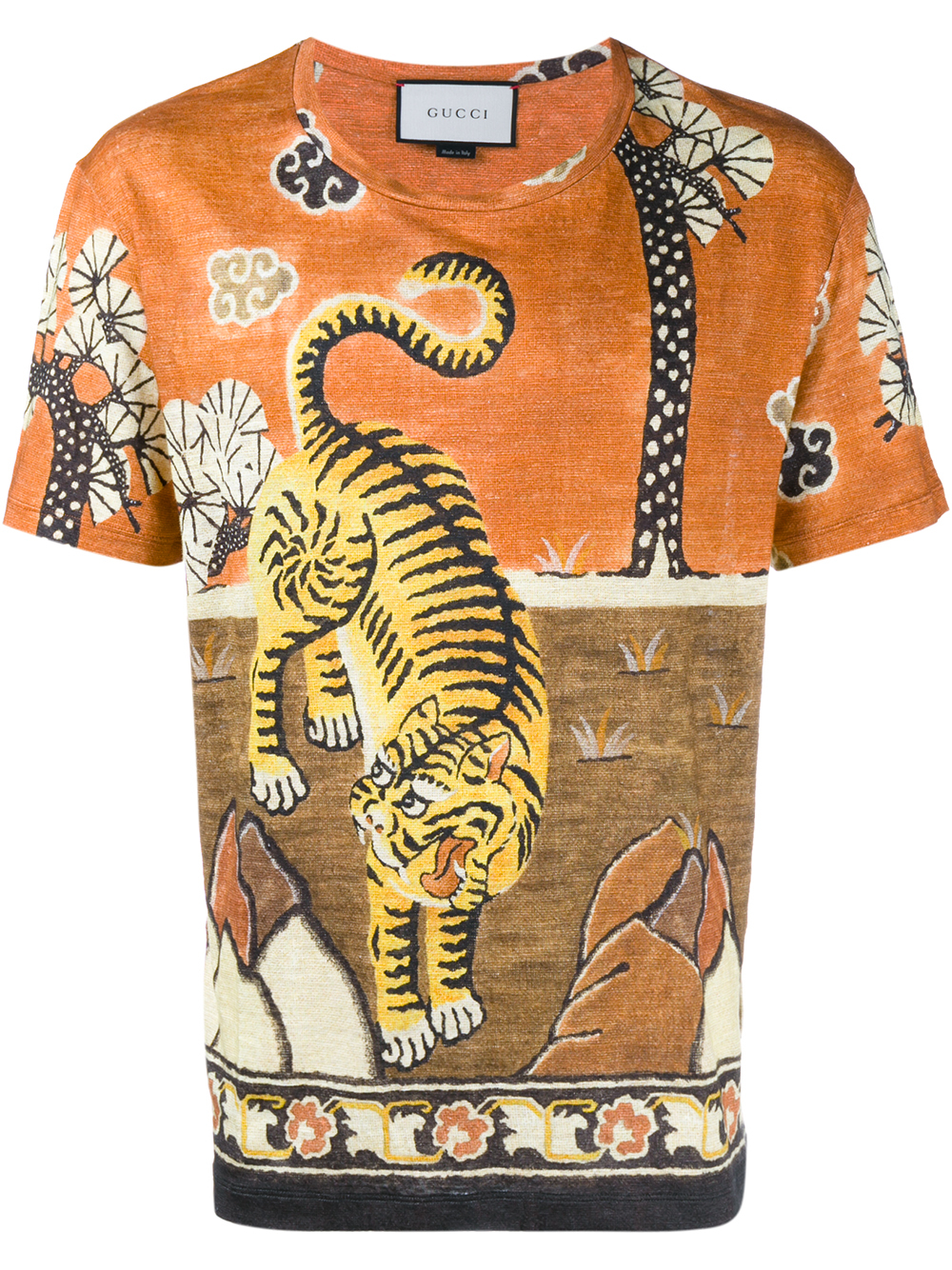 Gucci tiger print linen jersey t shirt in orange for men for Print photo on shirt
