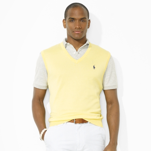 Polo ralph lauren Vneck Sweater Vest in Yellow for Men | Lyst