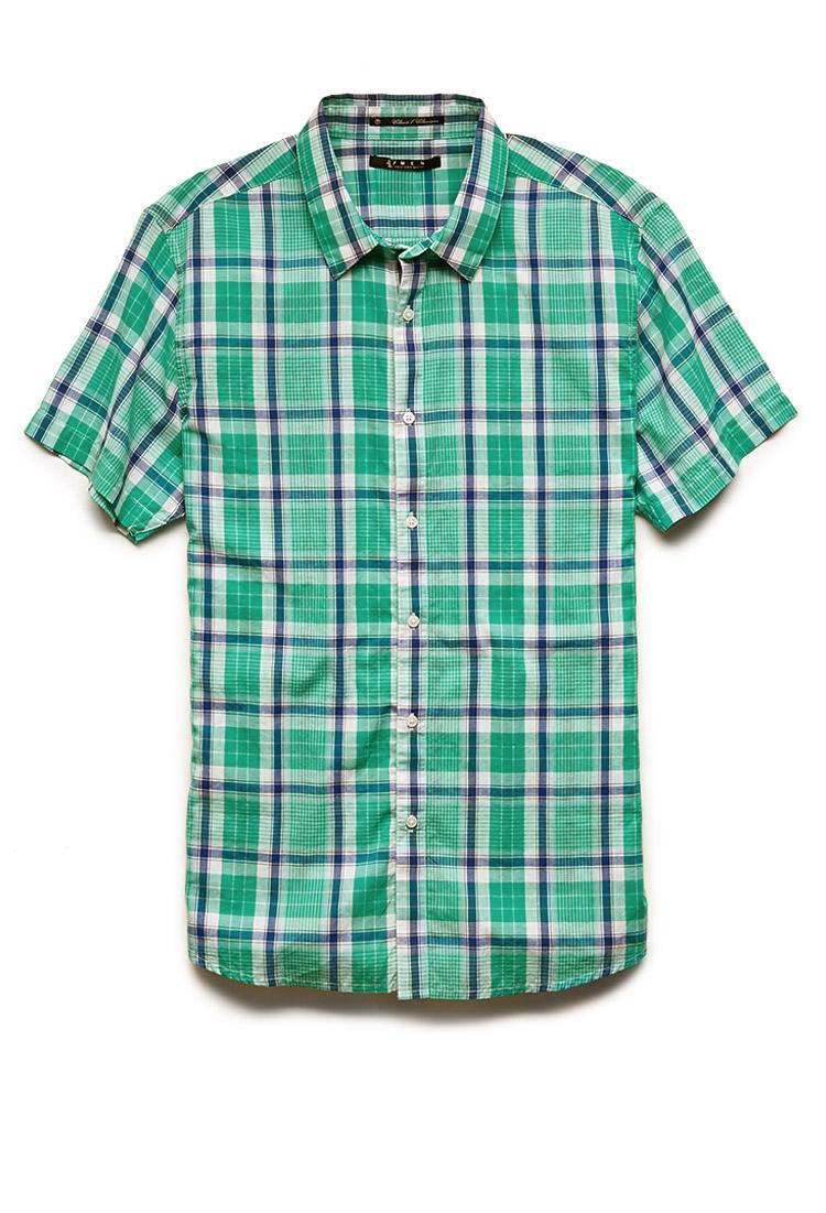 Lyst Forever 21 Short Sleeved Plaid Shirt In Green For Men