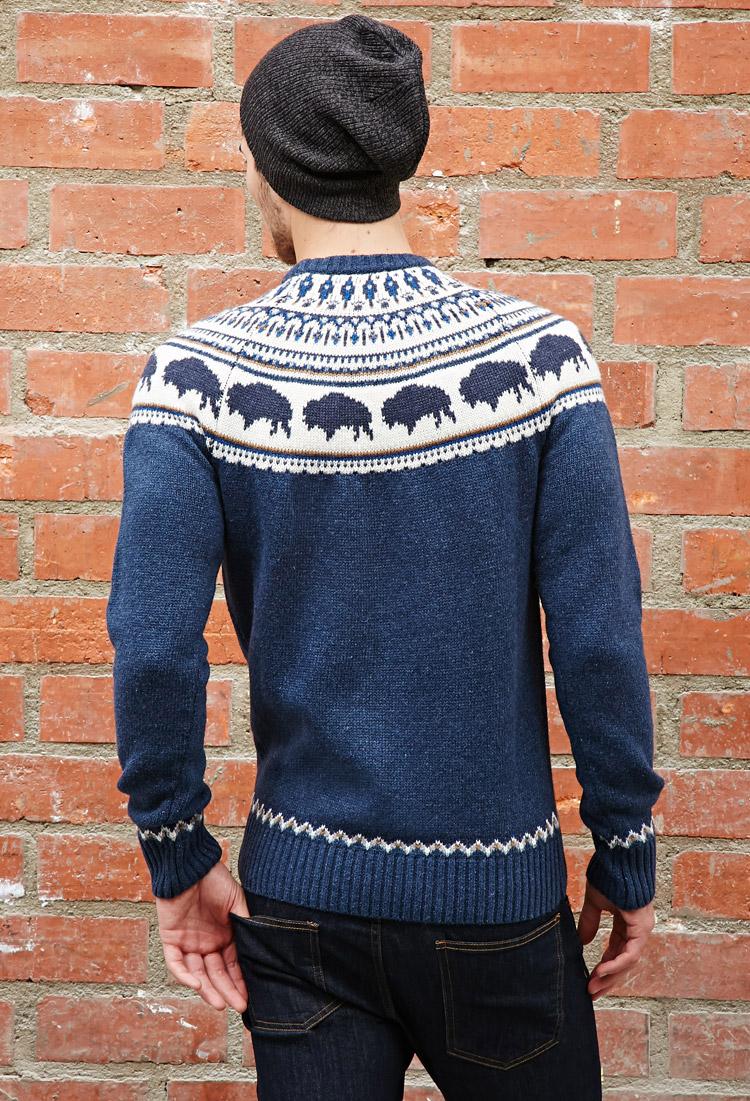 Forever 21 Bellfield Bison Fair Isle Sweater in Blue for Men | Lyst