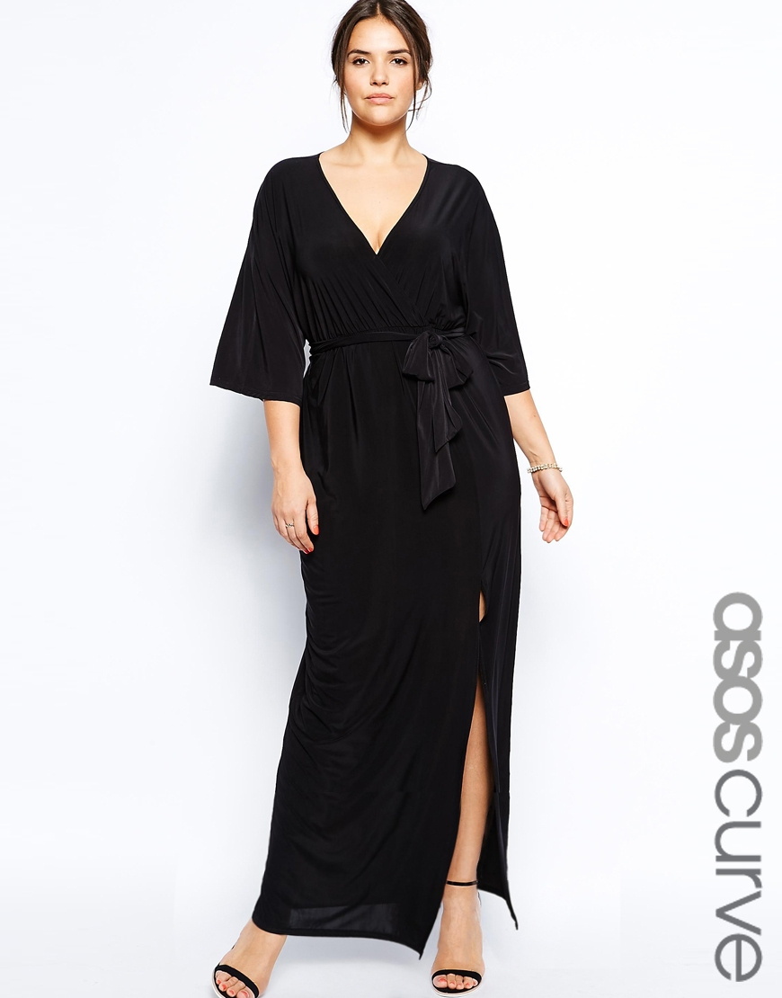 Asos kimono maxi dress with wrap in black lyst Plus size designer clothes uk