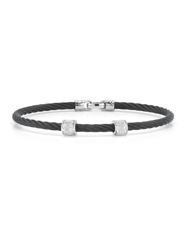 Charriol Blackcable Twodiamondstation Bracelet In Black Lyst