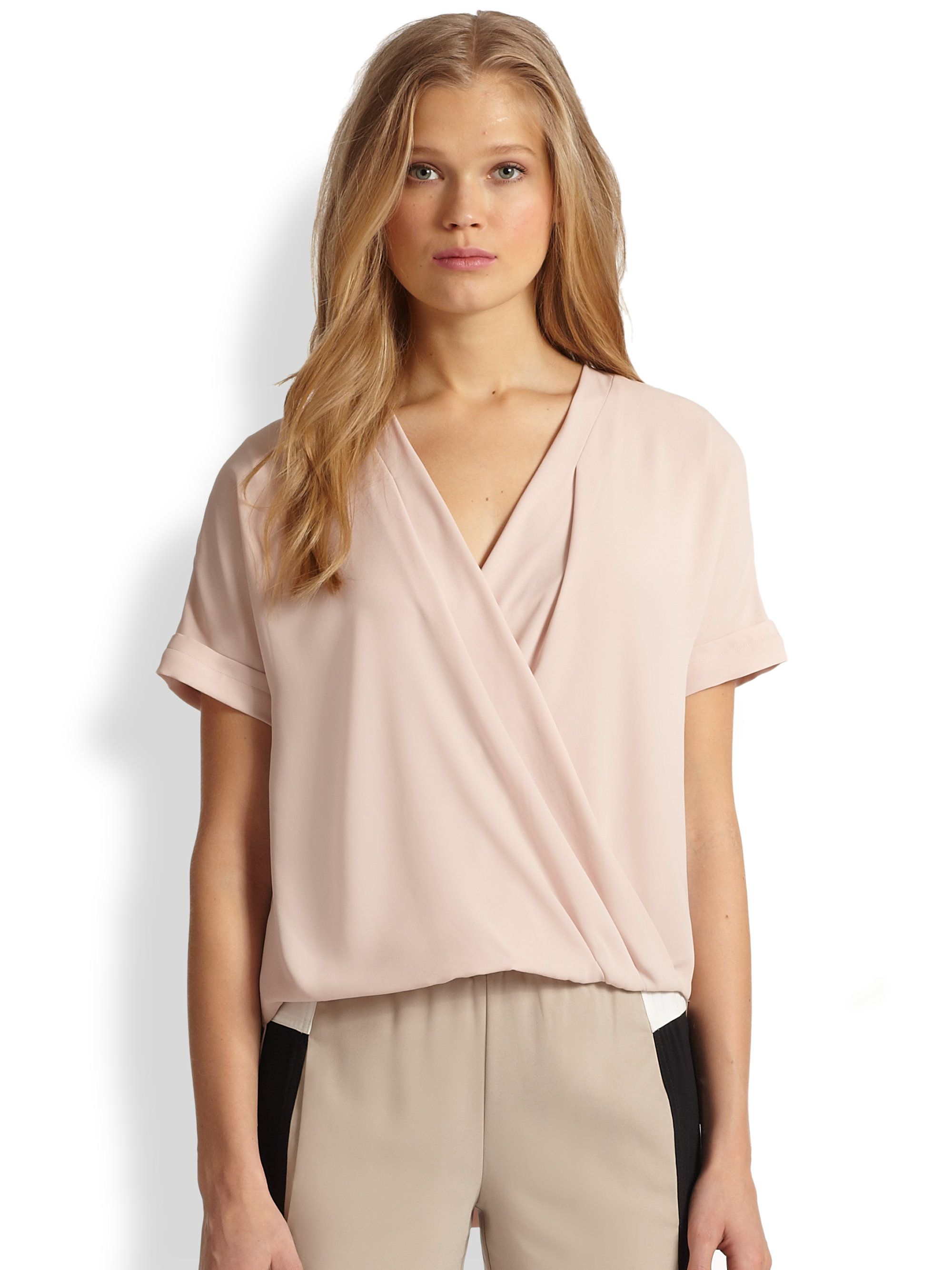 Bcbgmaxazria Natty Wrap-front Blouse in Pink | Lyst