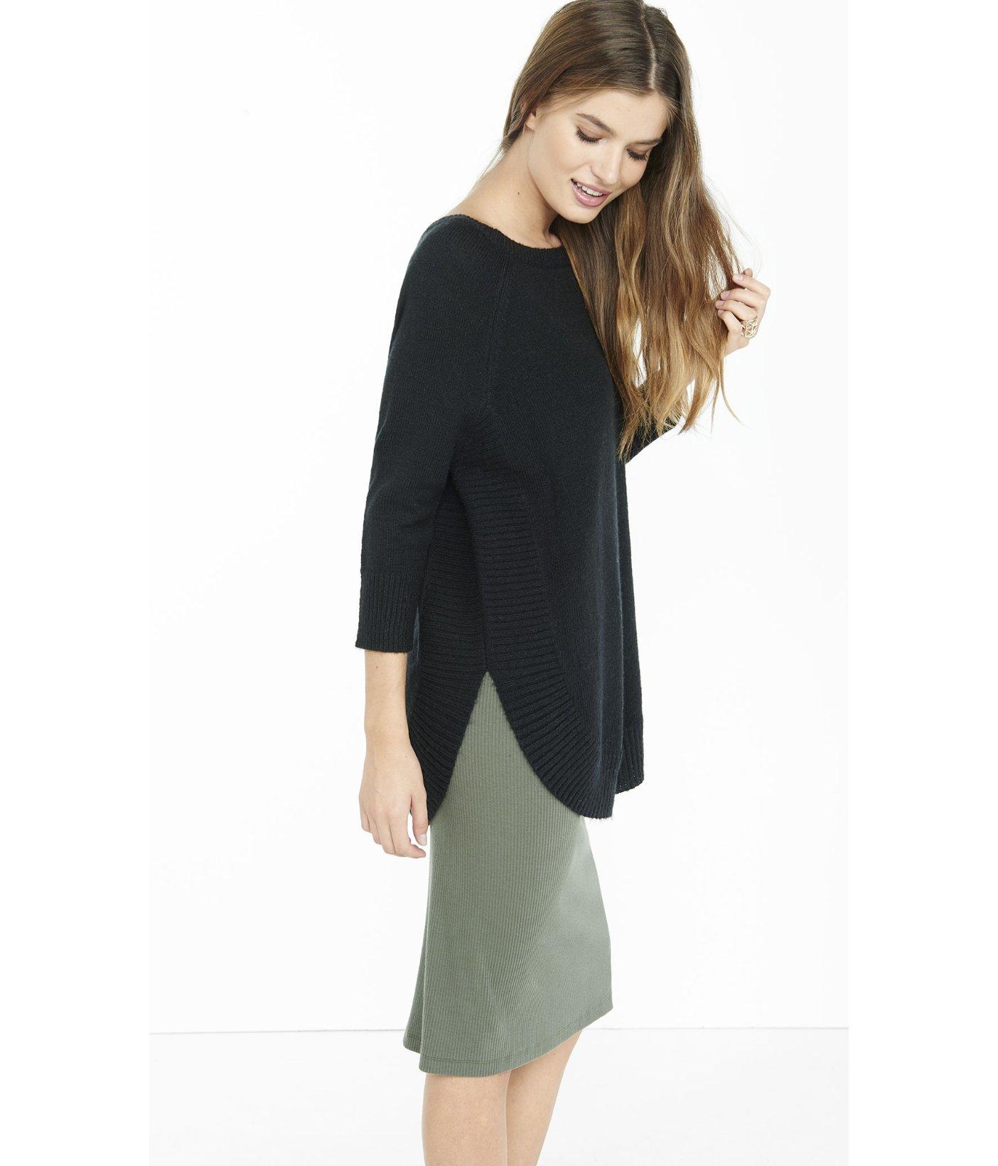 24c0b3311 Lyst - Express Black Boucle Extreme Circle Hem Tunic Sweater in Black