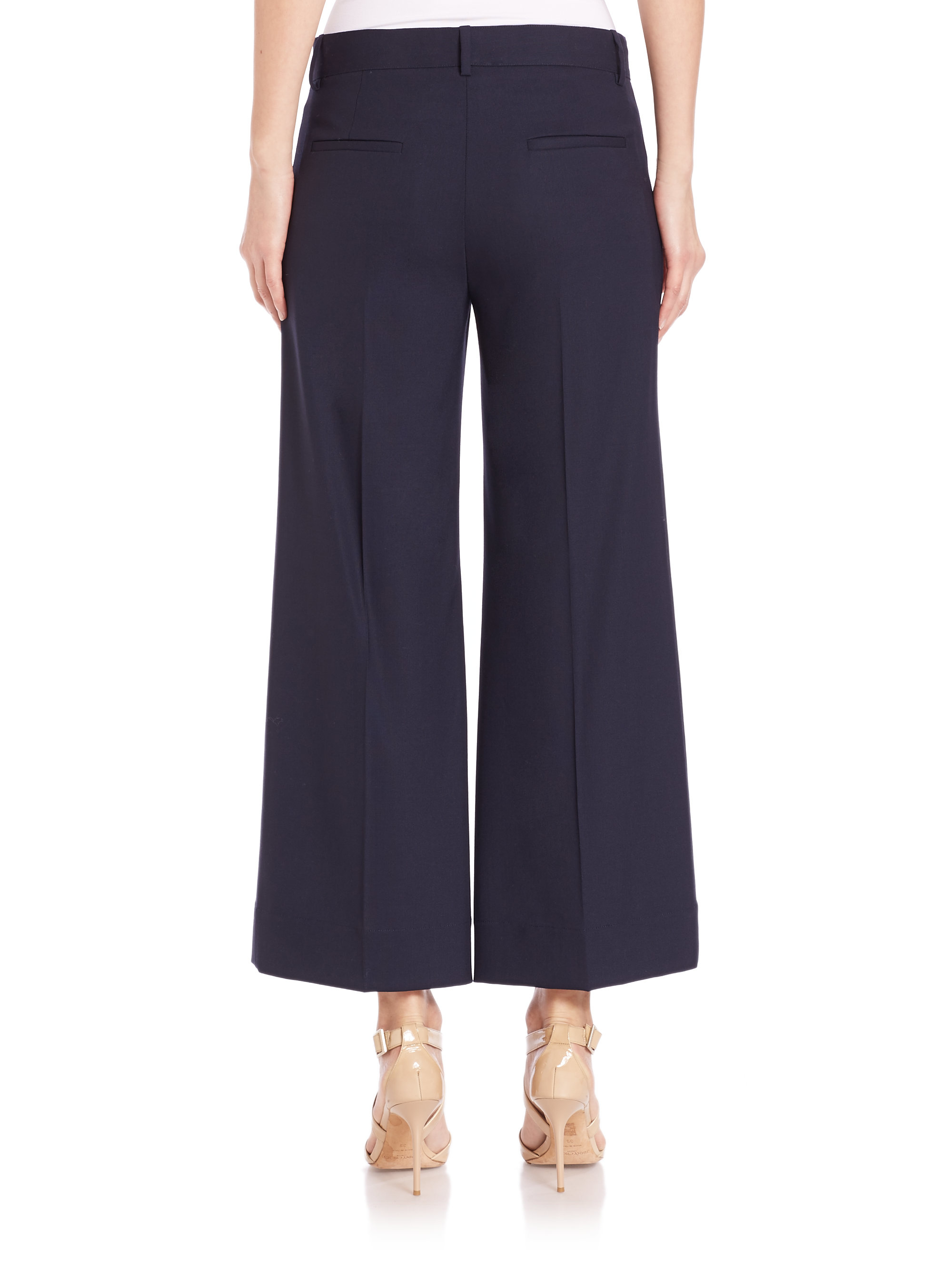 Lyst Theory Livdale Contour Wide Leg Cropped Pants In Blue