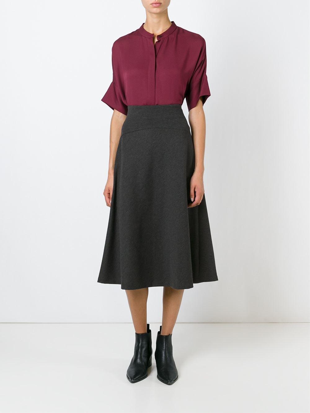 Michael michael kors Mid-length Flared Skirt in Gray | Lyst