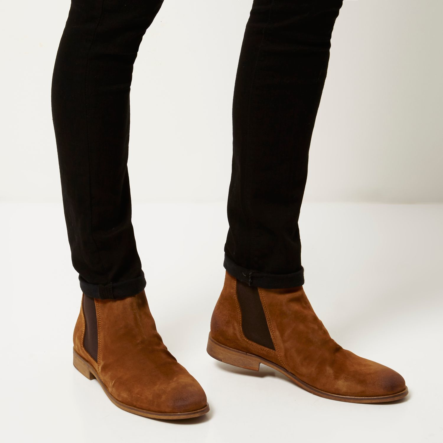 River island Tan Brown Suede Ruched Chelsea Boots in Brown for Men ...