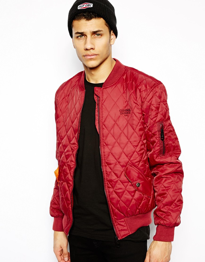 Criminal damage Quilted Bomber Jacket in Red for Men | Lyst