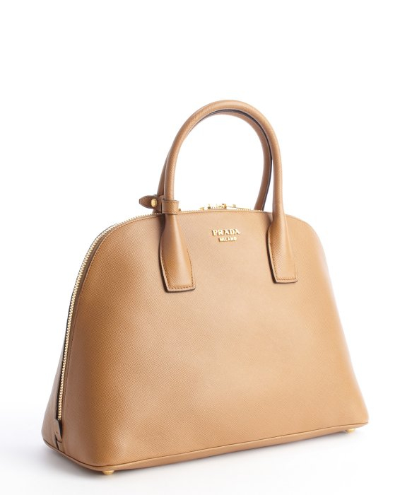 ... usa lyst prada caramel leather medium bowling bag in brown 6bc41 53894 a09e591e76100