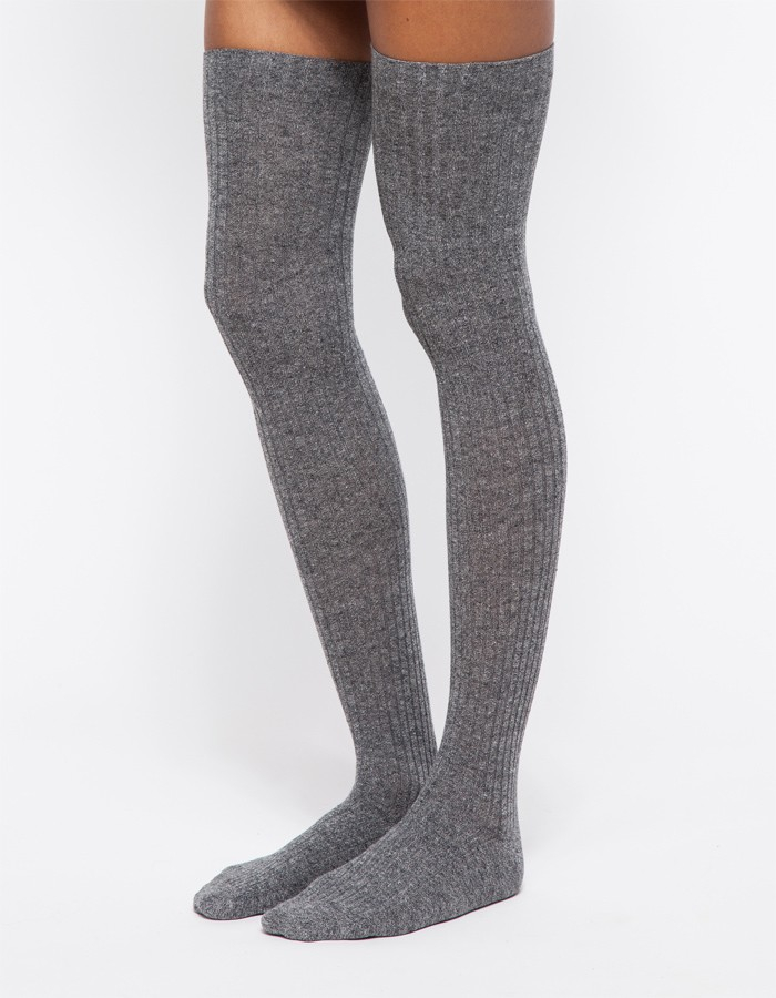 baserange over knee socks in grey in gray lyst. Black Bedroom Furniture Sets. Home Design Ideas