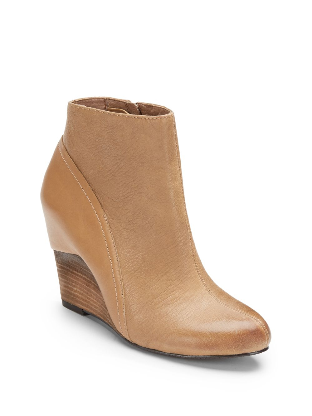 Vince camuto Hillari Leather Wedge Bootie in Natural   Lyst