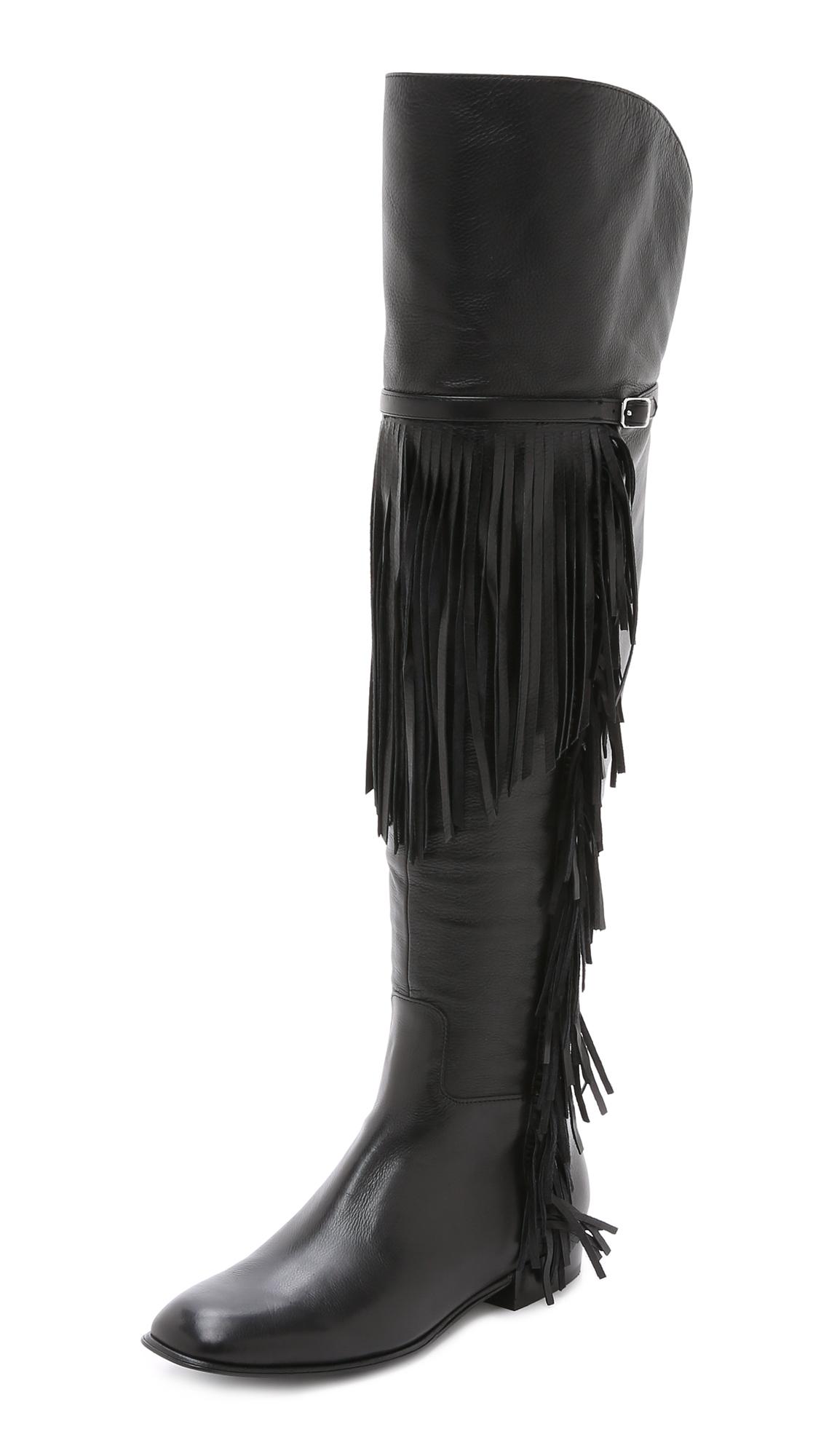 Sigerson morrison Effie Fringe Over The Knee Boots - Black in ...