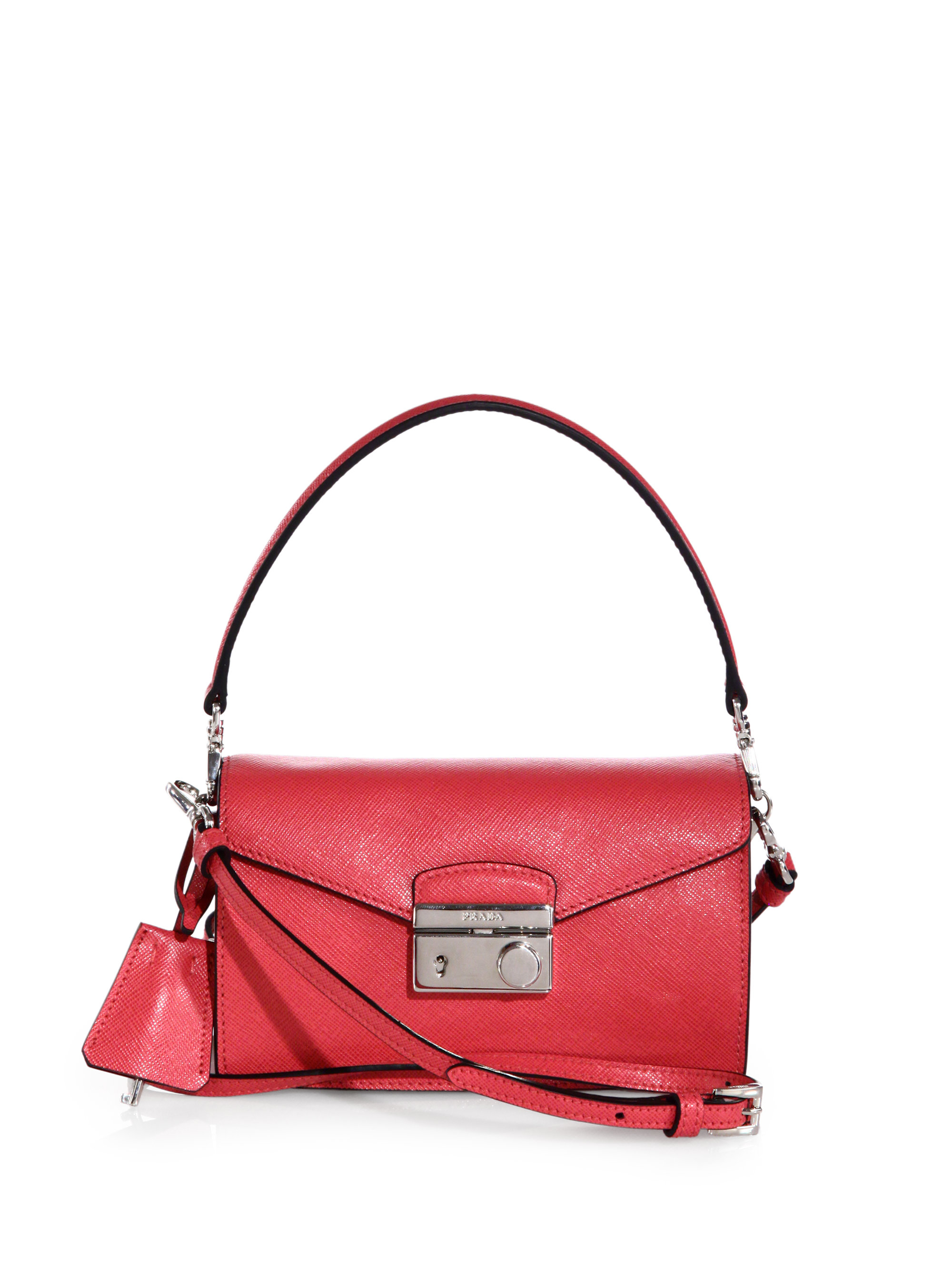 Prada Saffiano Leather Mini Sound Crossbody Bag in Pink | Lyst