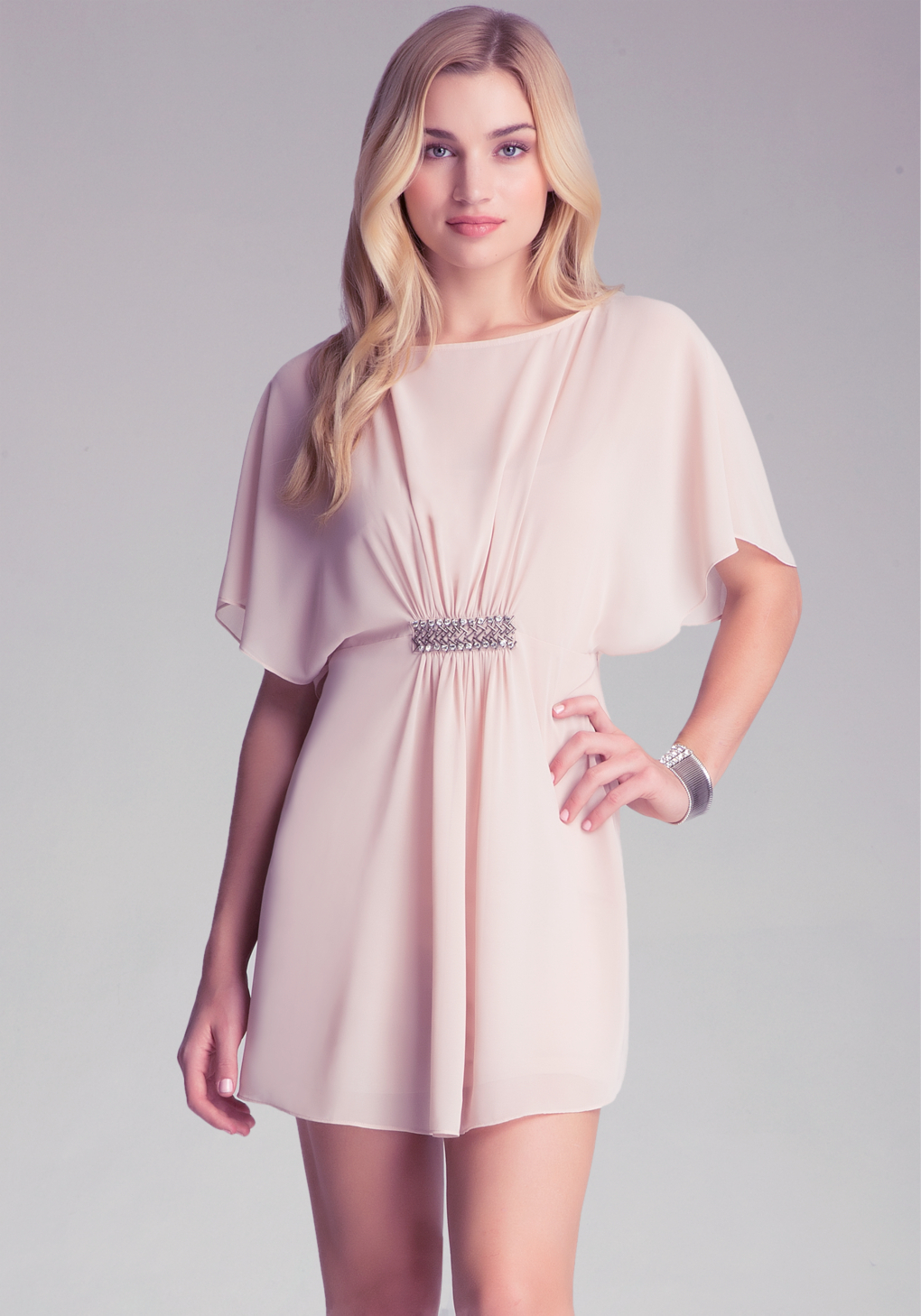 Bebe cape sleeve dress in natural lyst there was a problem loading this image ombrellifo Images