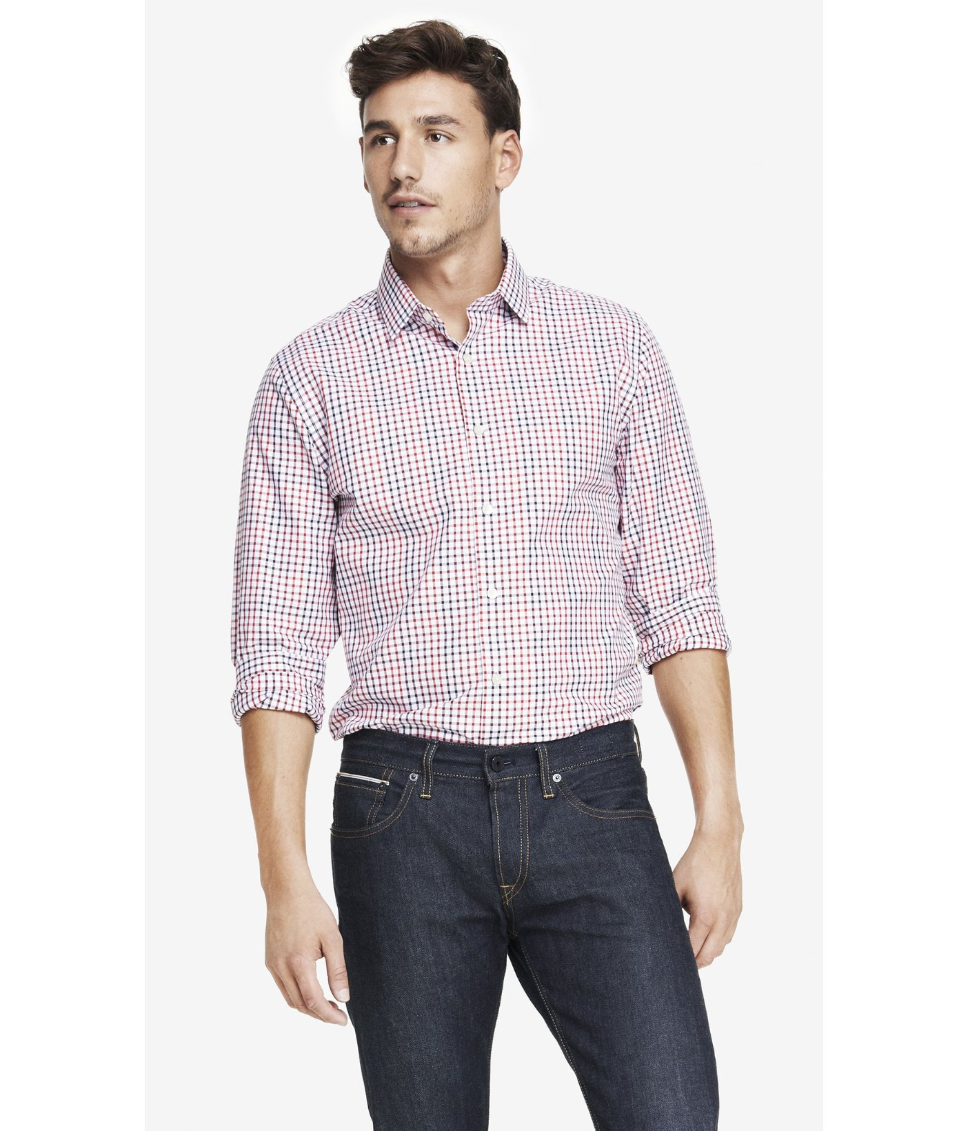 Lyst express modern fit plaid dress shirt in red for men for Modern fit dress shirt