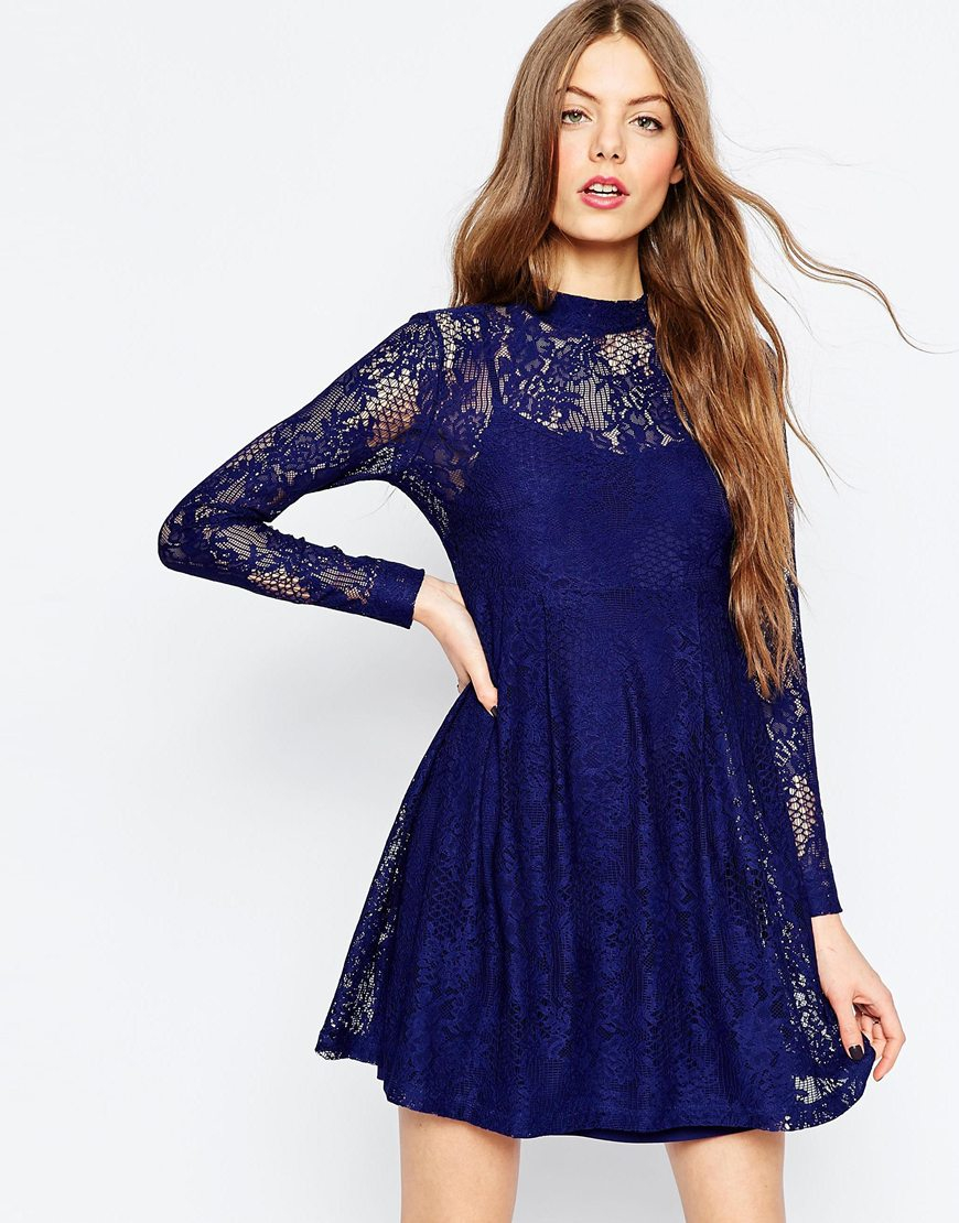 Asos Lace Babydoll Dress in Blue (Navy)