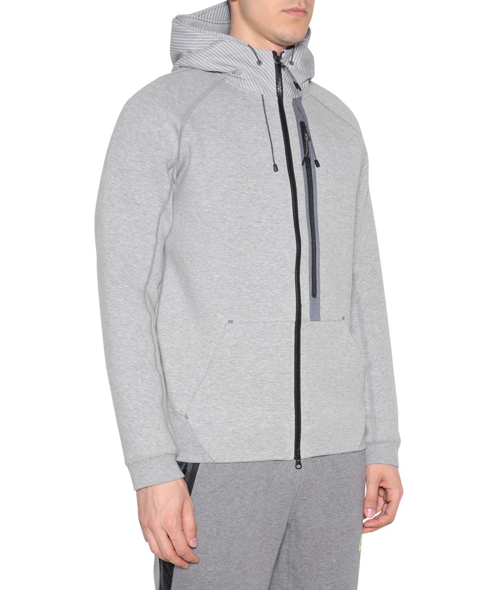 nike tech fleece hoody sweater in gray for men lyst. Black Bedroom Furniture Sets. Home Design Ideas