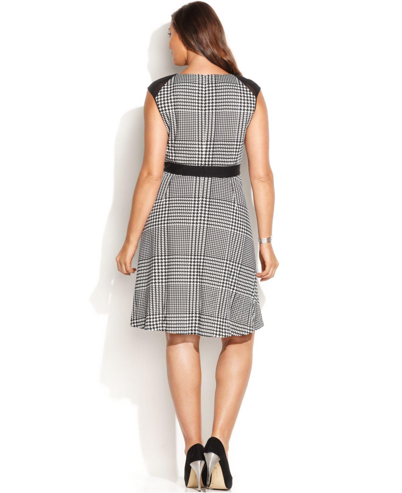 Lyst Calvin Klein Plus Size Houndstooth Aline Dress In Black