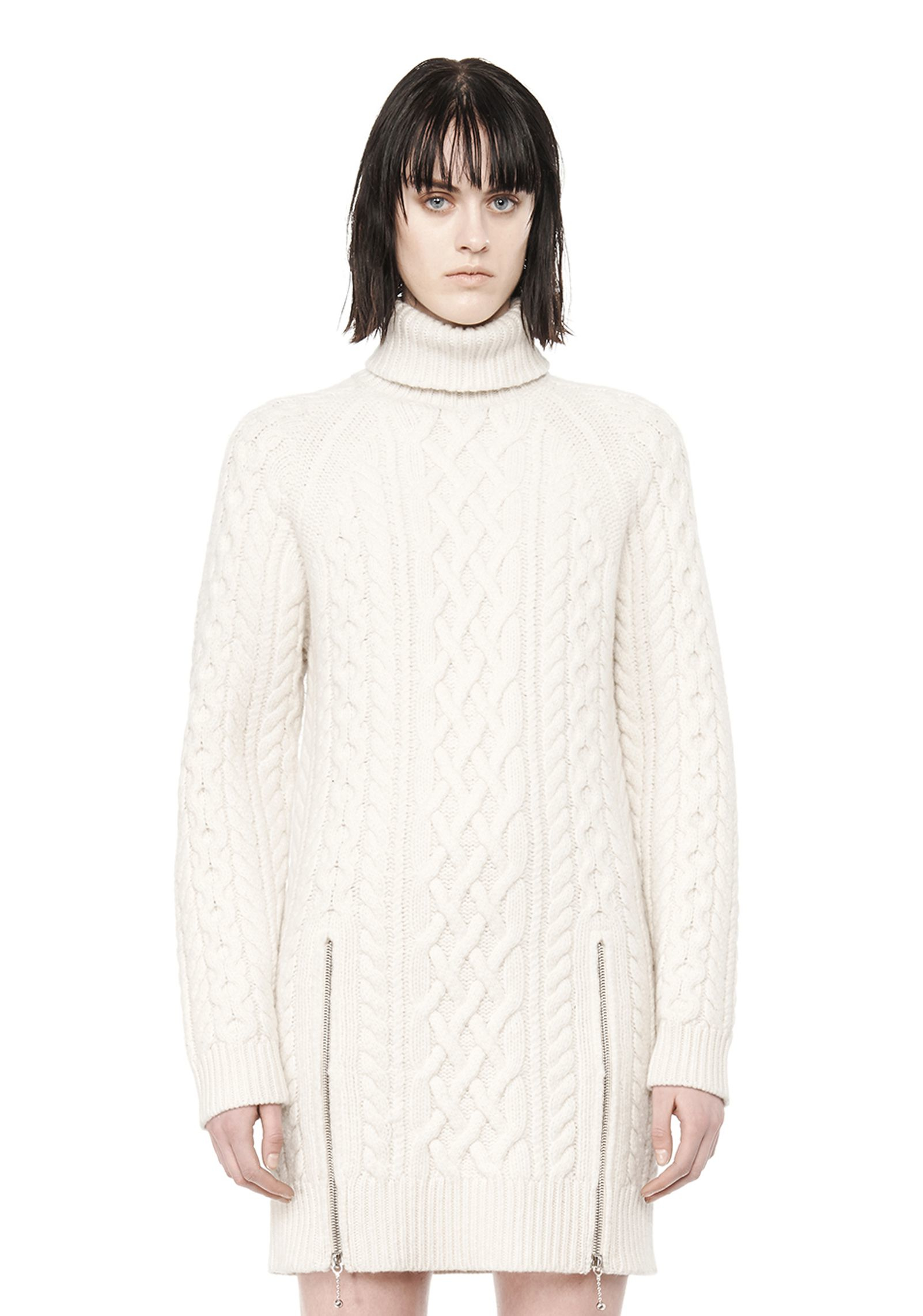 Knitting Pattern Turtleneck Dress : Alexander wang Cable Knit Turtleneck Dress in White Lyst