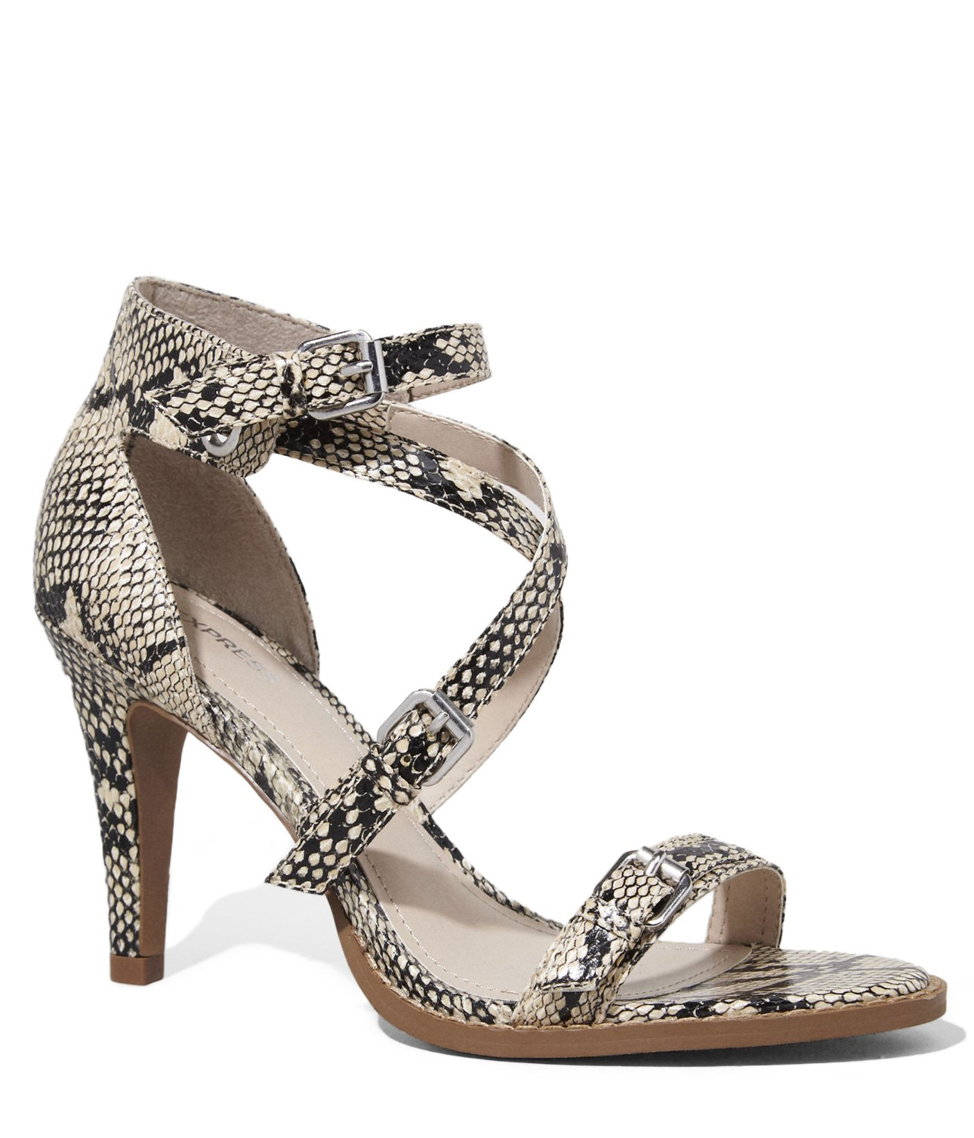 05c4105e0846 Lyst - Express Strappy Snakeskin Print Heeled Runway Sandal in Natural