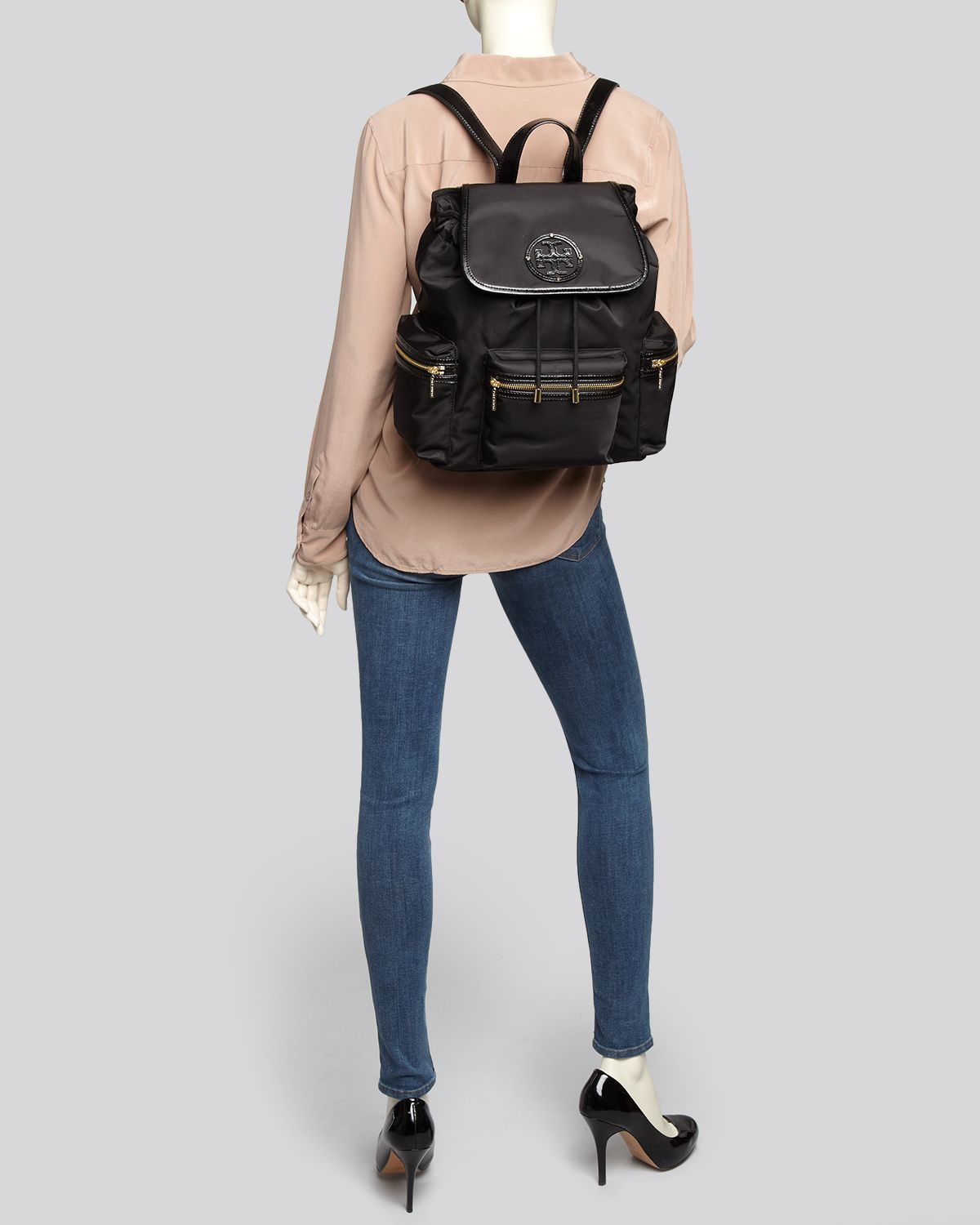 lyst   tory burch backpack billy stacked t logo in black