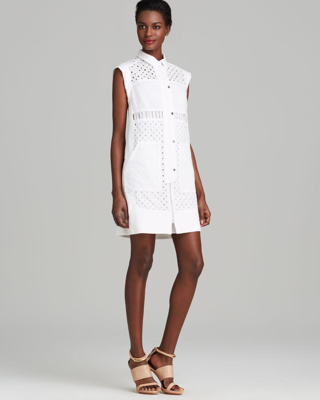 rebecca taylor dress cap sleeve eyelet shirt in white lyst
