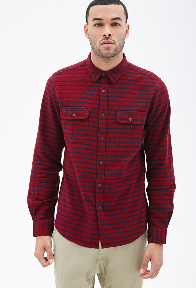 Forever 21 striped flannel button down shirt in purple for for Striped button down shirts for men