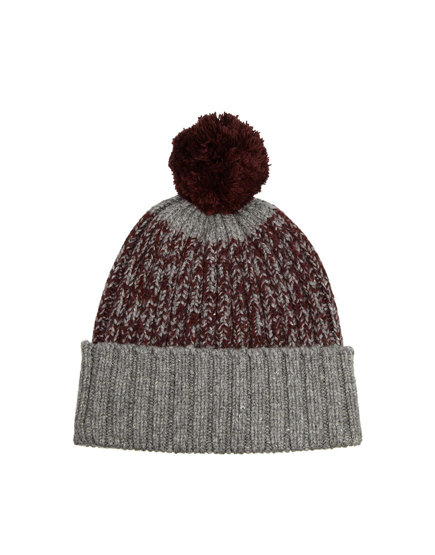 ebaeb54cd97 Lyst - Fred Perry Twisted Yarn Bobble Hat in Purple for Men