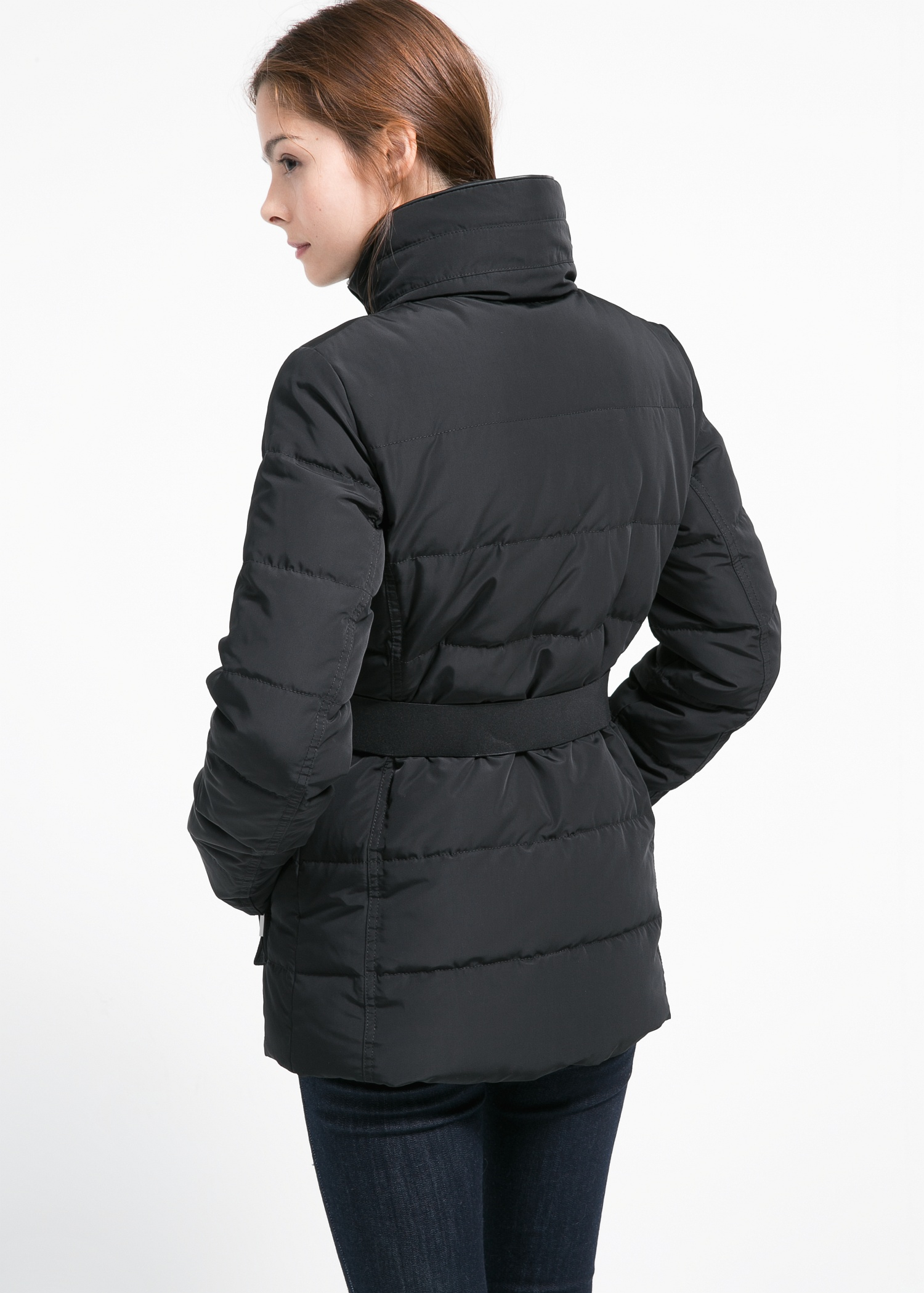 Mango Belted Feather Down Coat in Black | Lyst