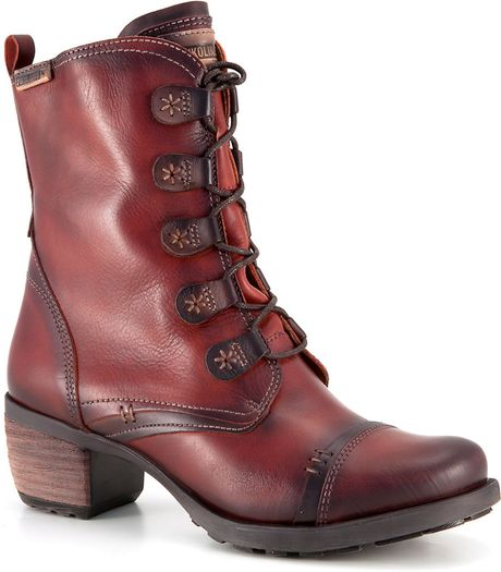 Pikolinos Le Mans Leather Boots In Red Lyst