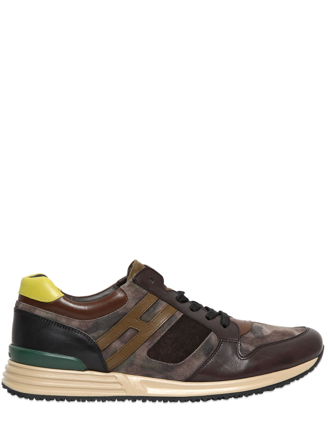 8bcaefe87224e Hogan Rebel Camo Suede & Leather Running Sneakers for Men - Lyst
