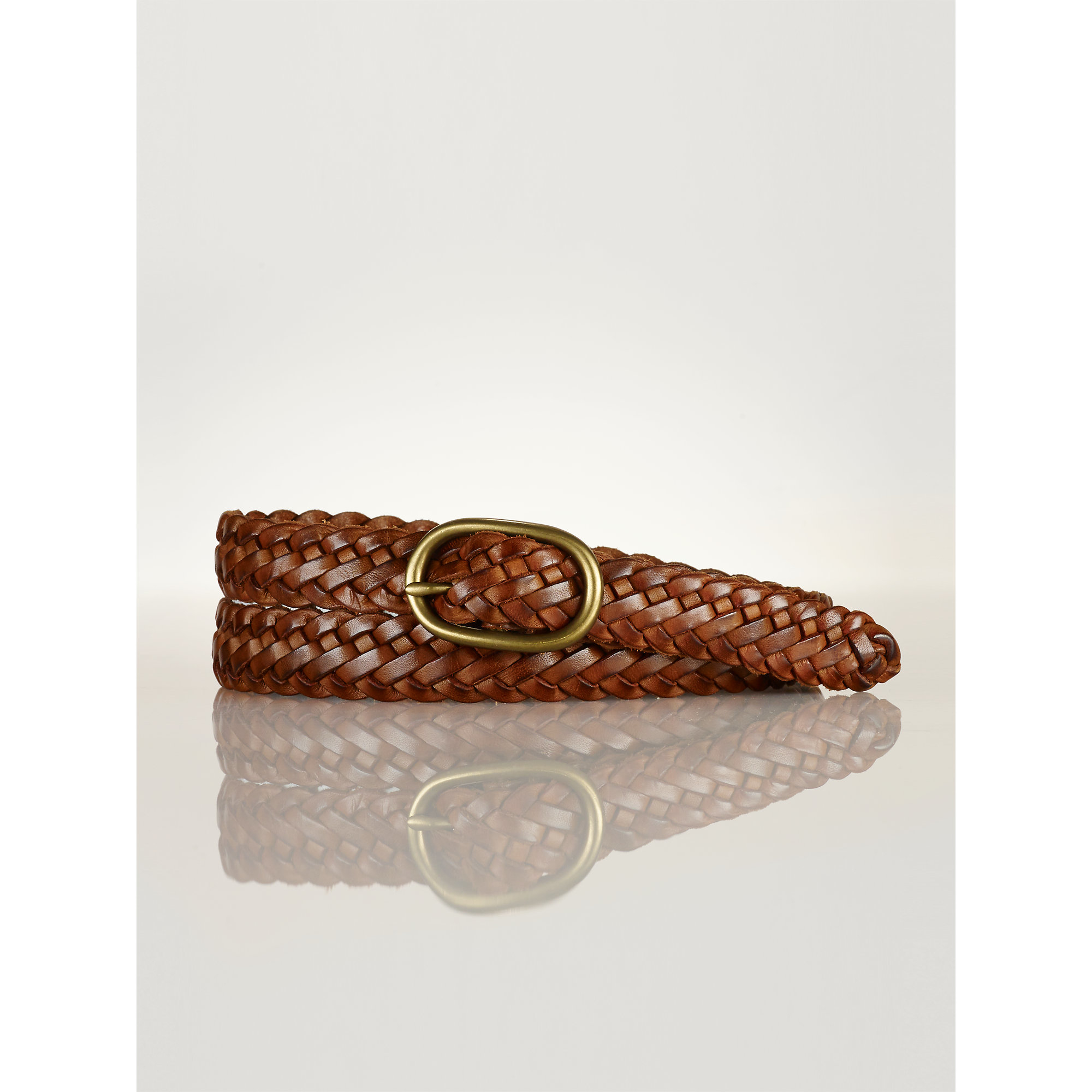 polo ralph brown braided leather belt lyst