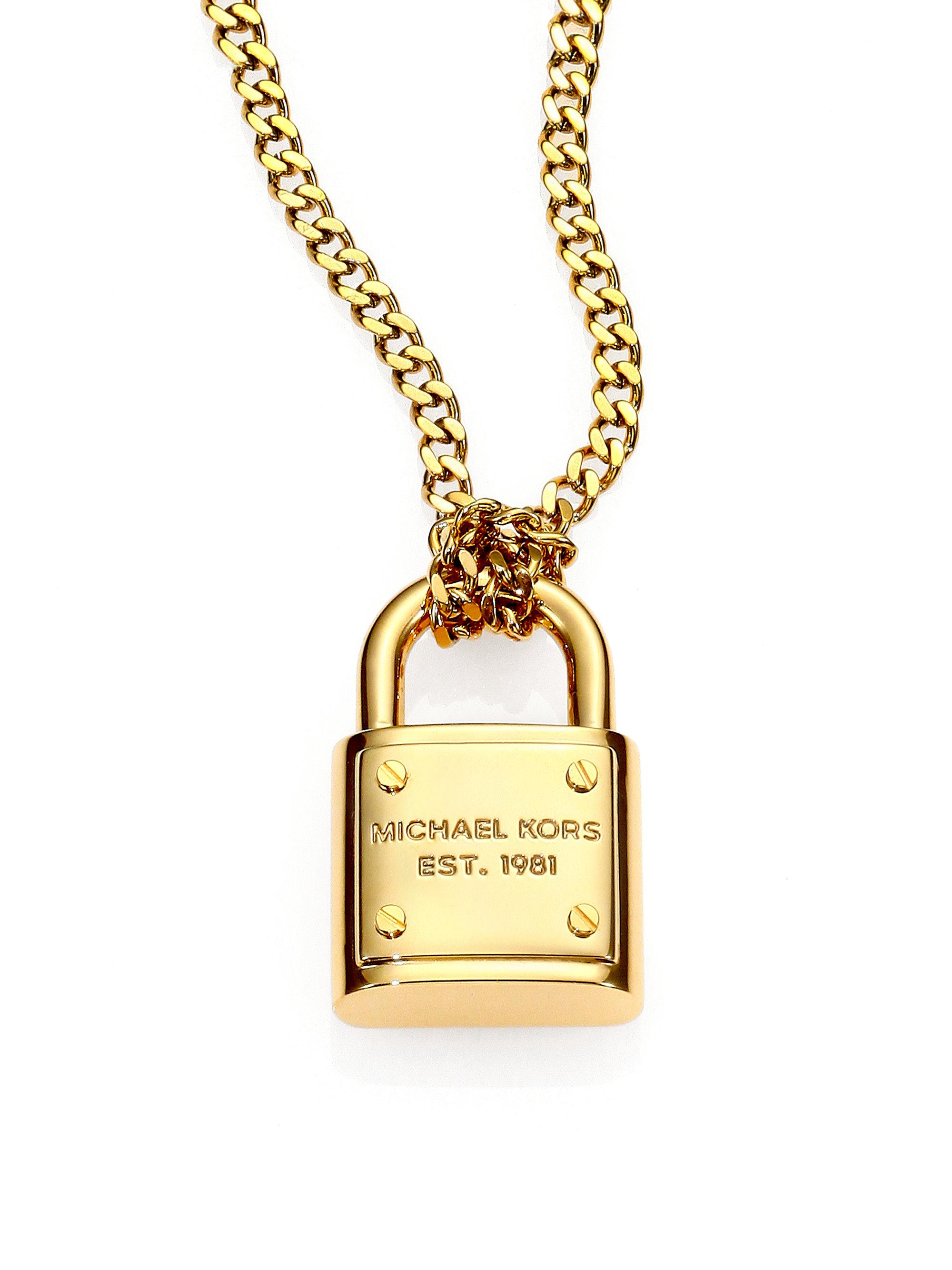 41aee260c987a Lyst - Michael Kors Logo Padlock Chain Link Necklace in Metallic