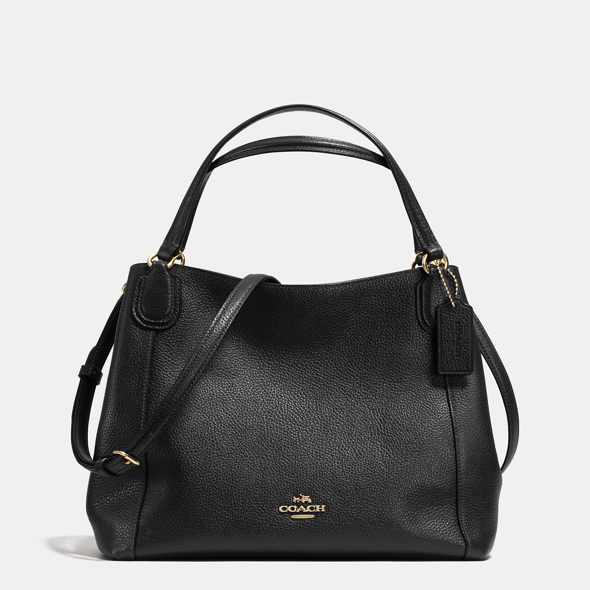 COACH Edie 28 Leather Shoulder Bag in Black - Lyst