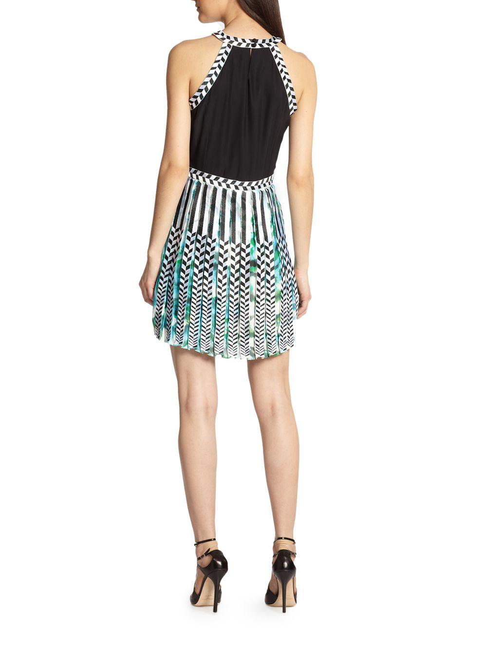 Lyst - Parker Selita Silk Embroideredtrim Printed Dress in Blue 6567c7539