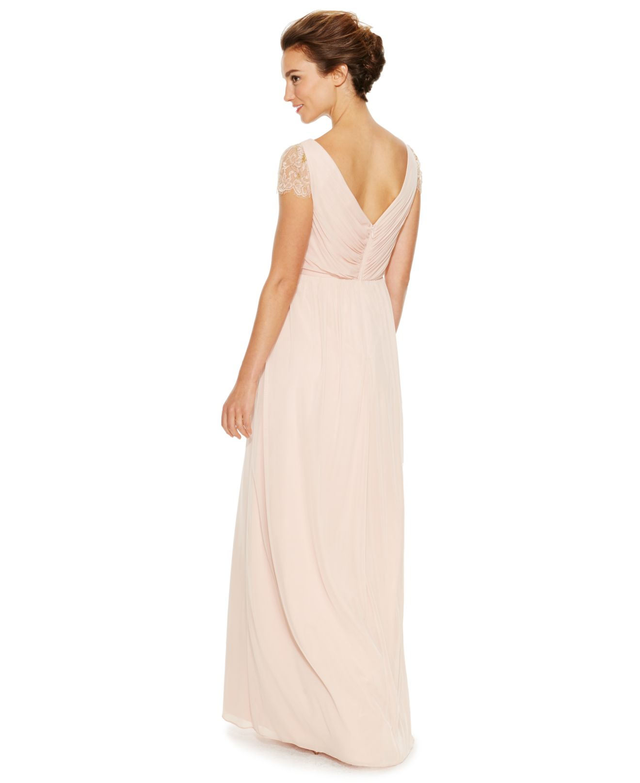 Lyst - Adrianna Papell Lace Twist-front Gown in Pink