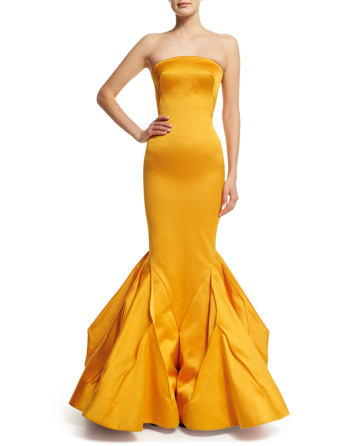 Lyst Zac Posen Strapless Fitted Gown W Trumpet Skirt In