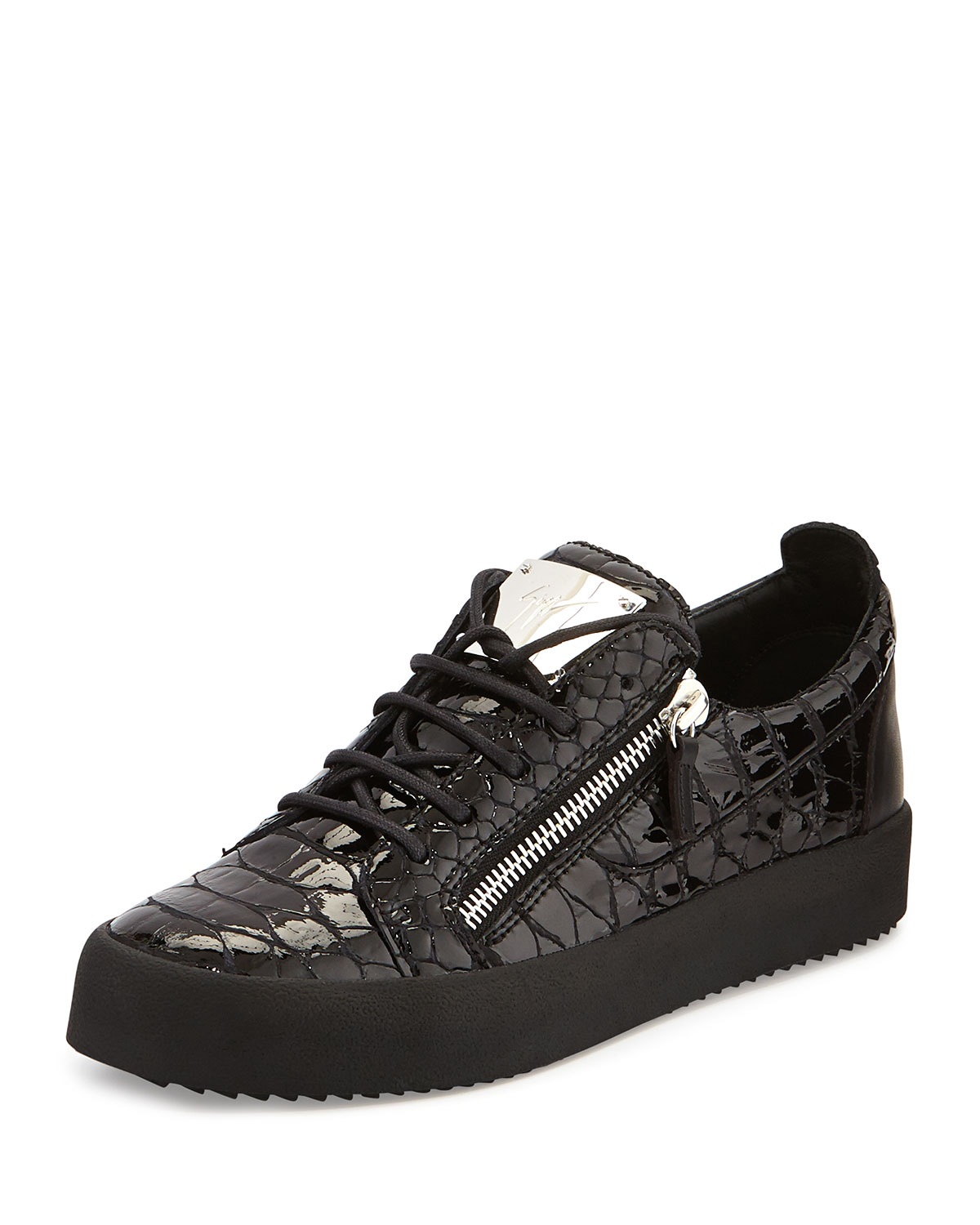 Lyst Giuseppe Zanotti Crocodile Embossed Low Top