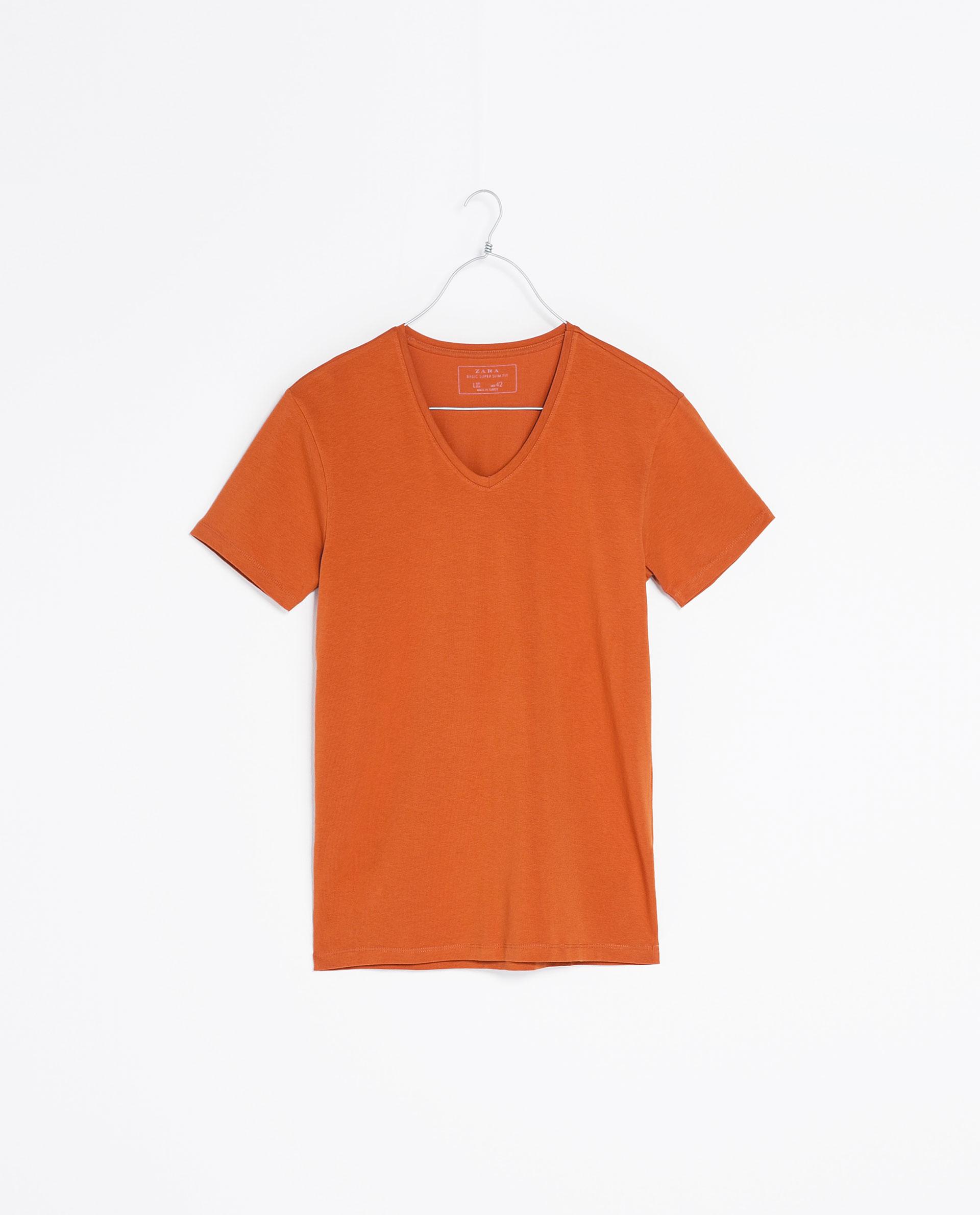 Zara super slim t shirt in orange for men burnt orange for Super slim dress shirts