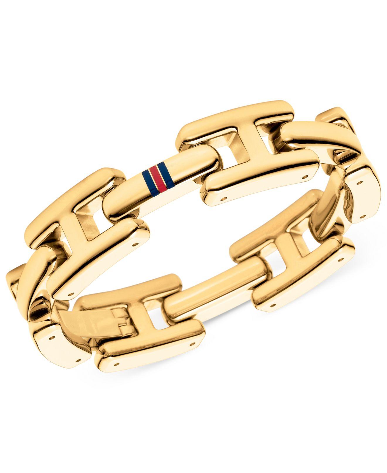 lyst tommy hilfiger gold tone h logo link bracelet in metallic. Black Bedroom Furniture Sets. Home Design Ideas