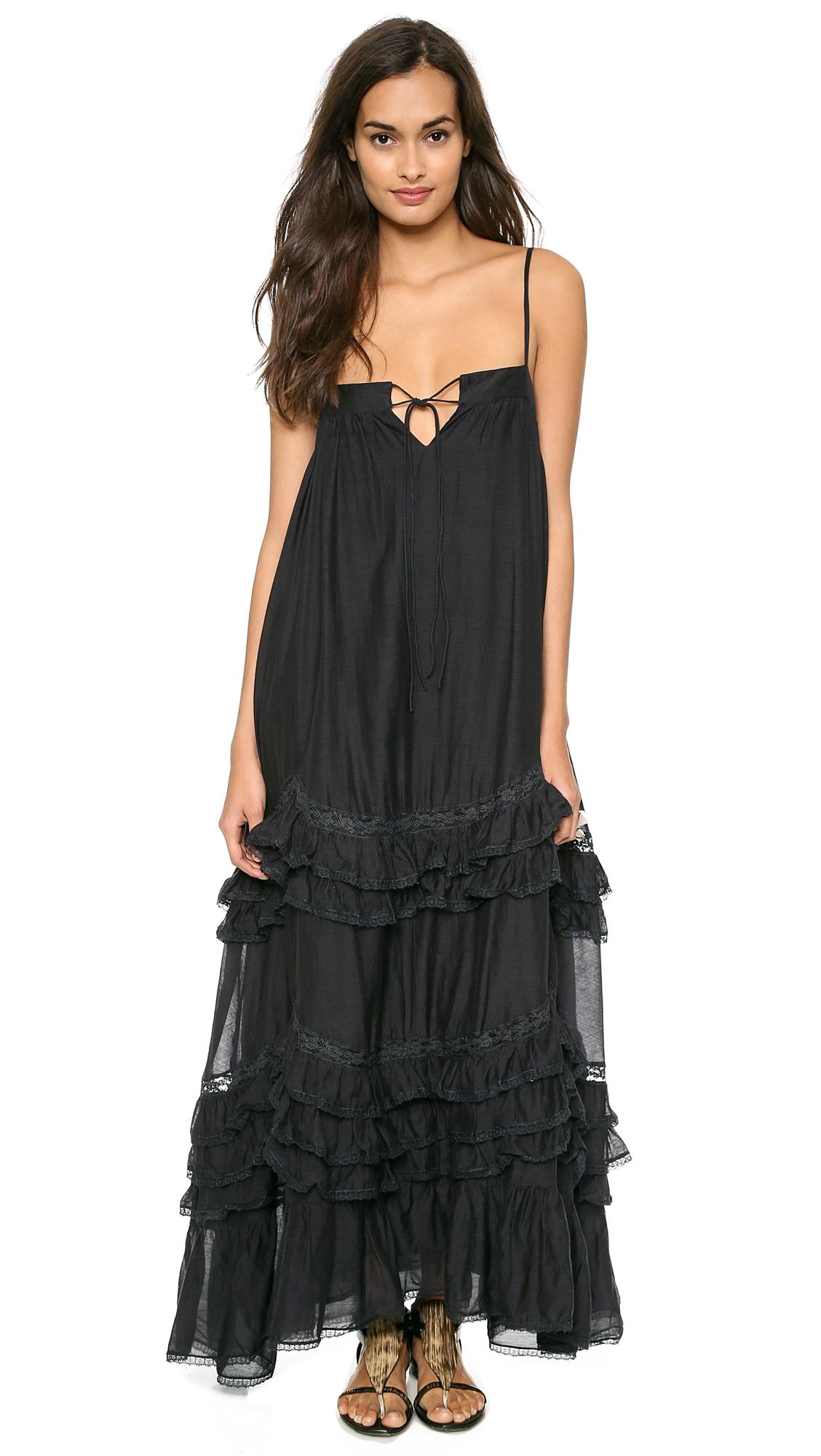 Mes Demoiselles Delicate Ruffle Maxi Dress Black In Black