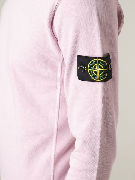 Stone island logo patch sweatshirt in pink for men pink amp purple