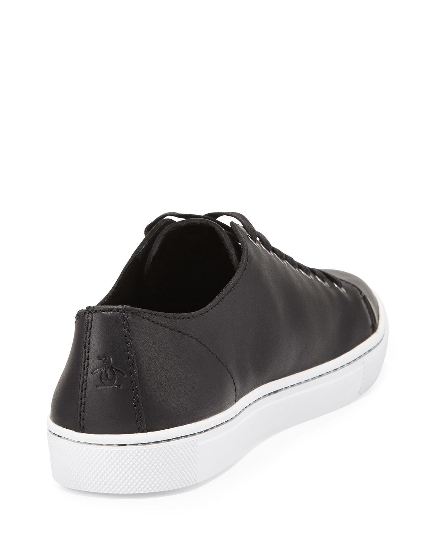 original penguin dive cap toe leather sneaker in black for