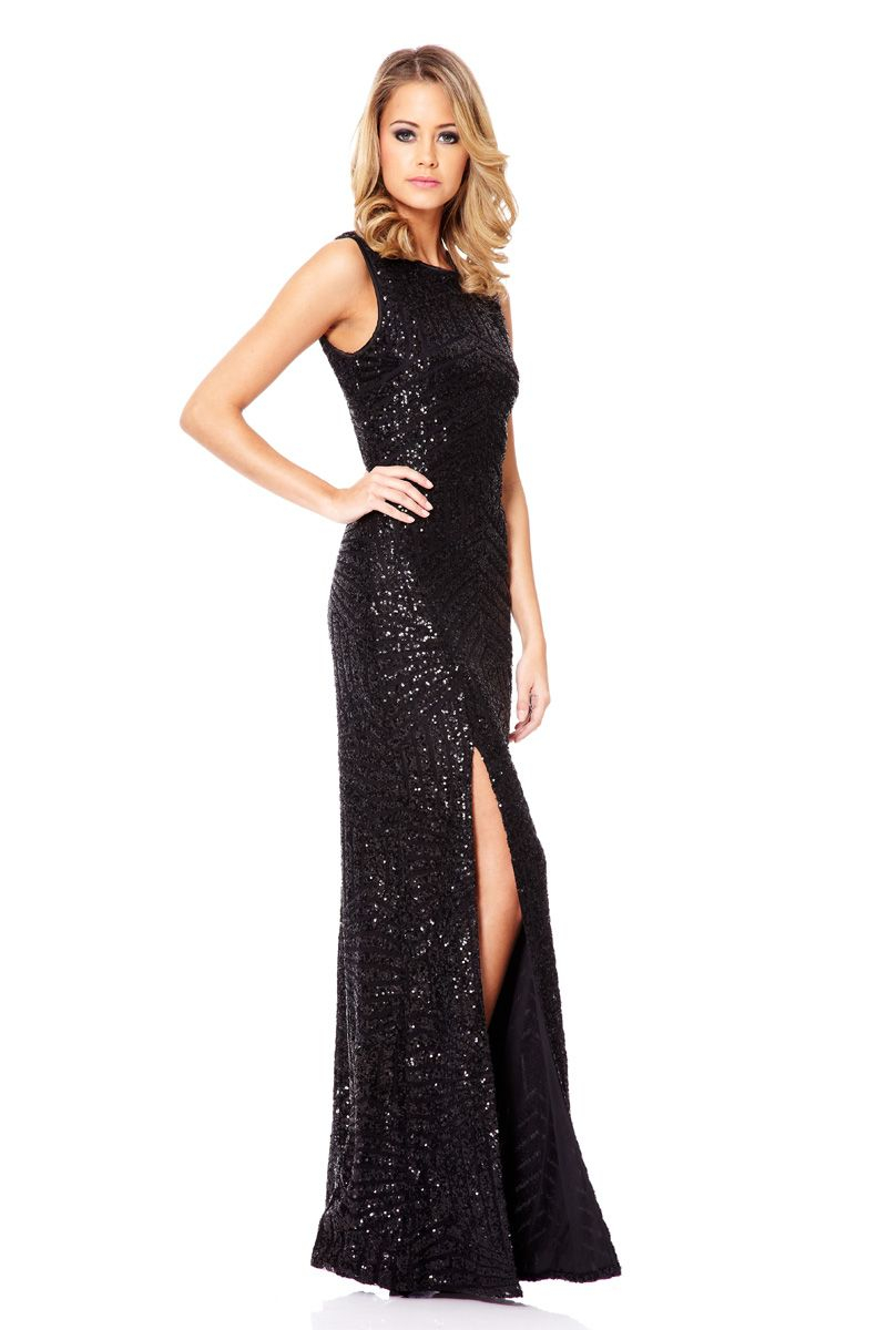 Quiz Zig Zag Sequin Maxi Dress In Black Lyst