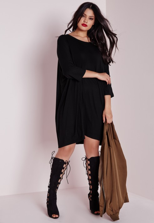 Lyst Missguided Plus Size Oversized T Shirt Dress Black In Black