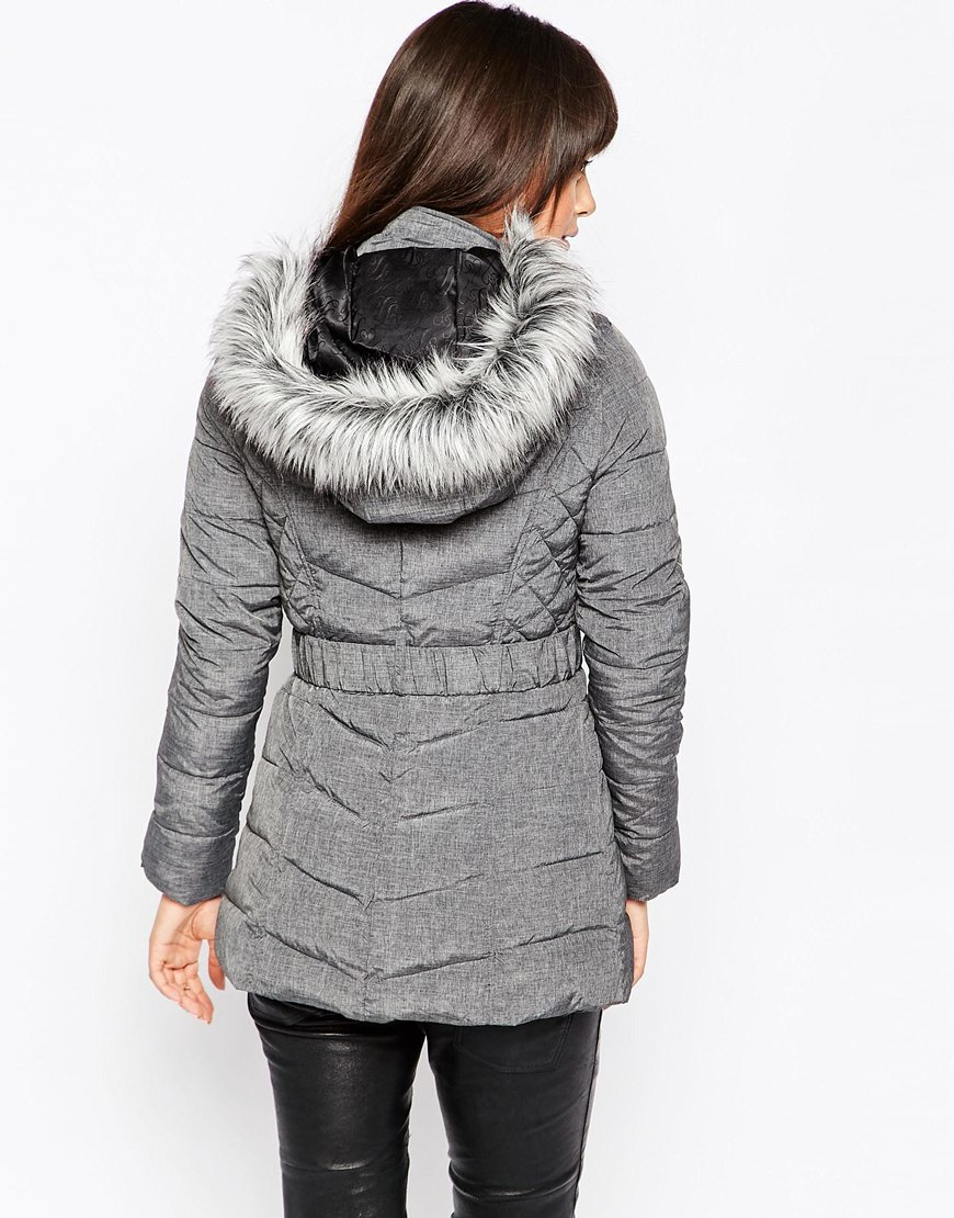 6bbeaaa67ec0 Lyst - Lipsy Faux Fur Hooded Padded Jacket in Gray