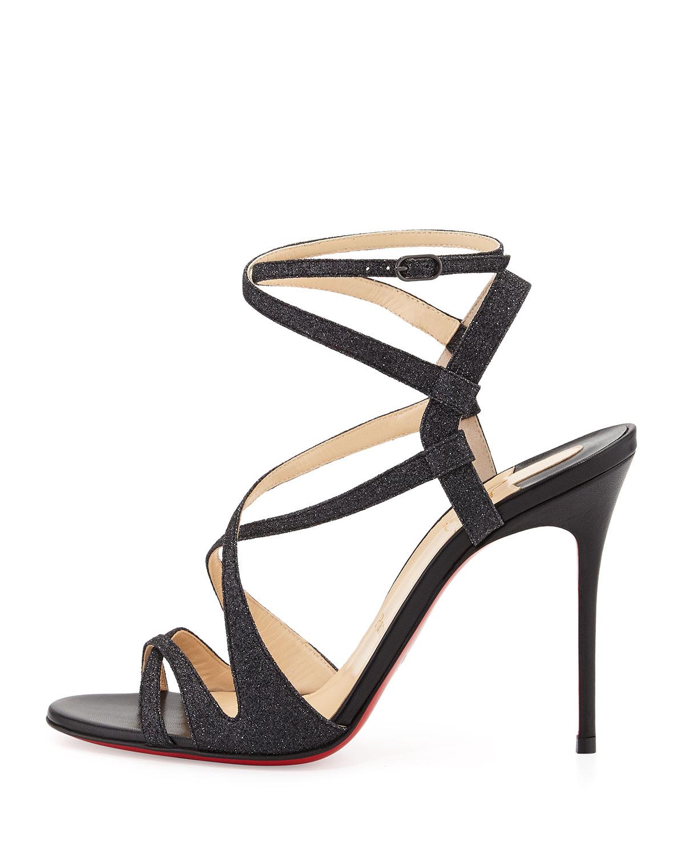 louboutin black strappy sandals