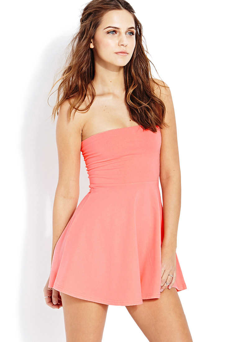 Forever 21 Posh Tube Dress in Pink | Lyst